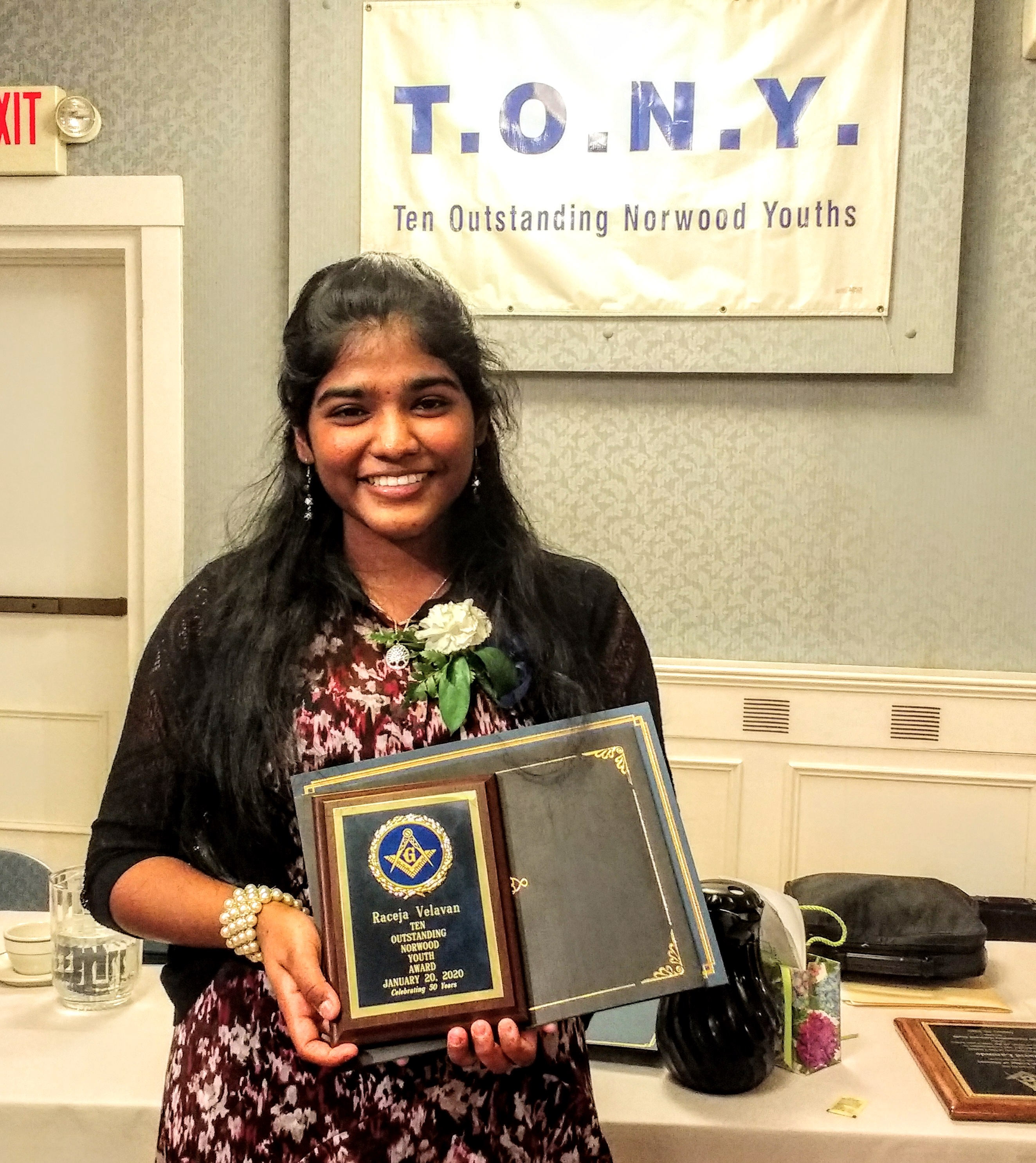 Raceja Velavan '21 Wins T.O.N.Y. Outstanding Youth Award